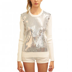 WHITE PULLOVER WITH APPLICATIONS