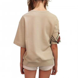 BEIGE SWEATER WITH EMBROIDERY