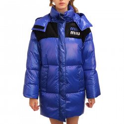 BLUE PADDED JACKET WITH HOOD