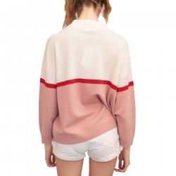 WHITE AND PINK CASHMERE PULLOVER