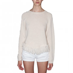 BEIGE PULLOVER WITH FRINGES