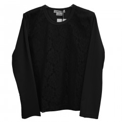 BLACK SWEATER WITH FLORAL LACE