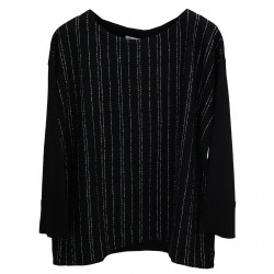 BLACK OVER SWEATER WITH SILVER STRIPES