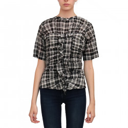 WHITE AND BLACK CHECKED BLOUSE