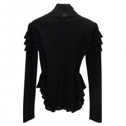 BLACK PULLOVER WITH FLOUNCES