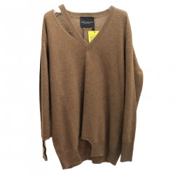 BROWN RIPPED PULLOVER