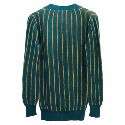 GREEN AND YELLOW STRIPED CARDIGAN