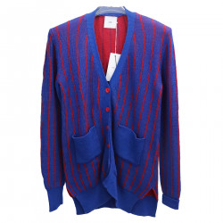 RED AND BLUE STRIPED CARDIGAN