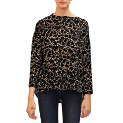 BLACK AND GREY VELVET BLOUSE