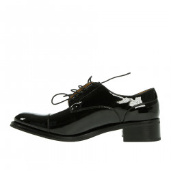 BLACK LEATHER LACE-UP