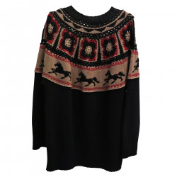 BLACK SWEATER WITH HORSES DETAILS