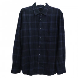 new styles 89282 40c62 ASPESI DARK BLUE CHECKED SHIRT