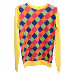 YELLOW PULLOVER WITH MULTICOLOR DETAILS