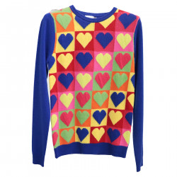 BLUE PULLOVER WITH MULTICOLOR FANTASY