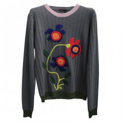 GREY PULLOVER WITH EMBROIDERY