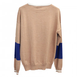 BEIGE AND BLUE PULLOVER