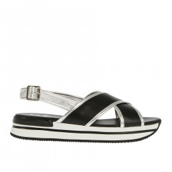 BRAIDED BLACK AND SILVER SANDALS