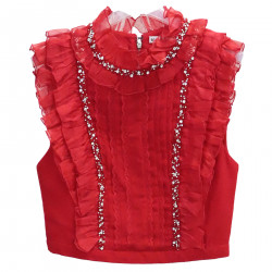RED TOP WITH STONES