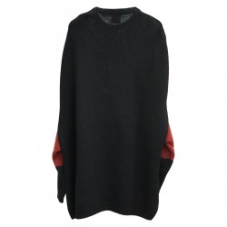 BLACK LONG SWEATER WITH EAGLE