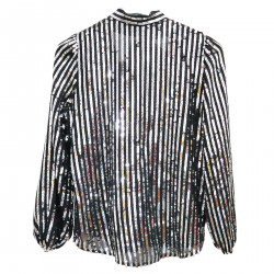 BLACK BLOUSE WITH SILVER SEQUINS