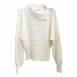 WHITE SWEATER WITH BEADS