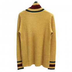 YELLOW RIBBED HIGHNECK SWEATER