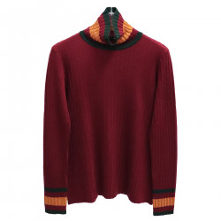DARK RED RIBBED HIGHNECK SWEATER