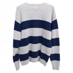 GREY AND BLUE STRIPES SWEATER