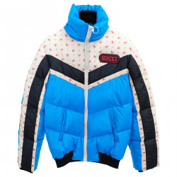LIGHT BLUE DOWN JACKET WITH FANTASY