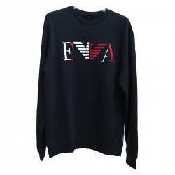 BLUE SWEATSHIRT WITH FRONTAL EMBROIDERY