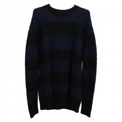 BLACK AND BLUE STRIPES SWEATER