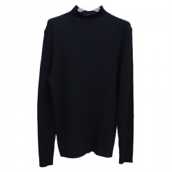 RIBBED BLUE PULLOVER