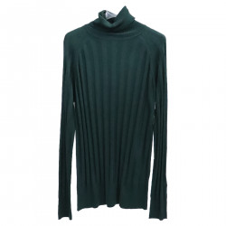 GREEN RIBBED ROLLNECK