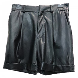 BLACK SHORTS IN ECO LEATHER