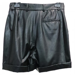 SHORTS NERI IN ECO PELLE