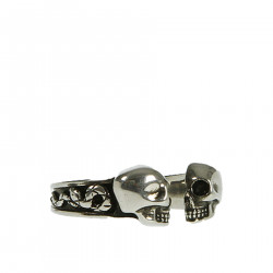 SILVER DOUBLE SKULL RING