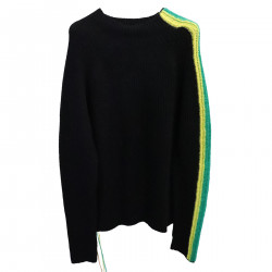 BLACK SWEATER WITH SIDE STRIPES