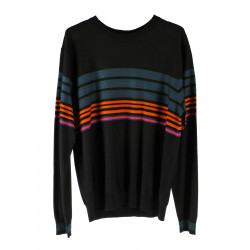 BLACK PULLOVER WITH MULTICOLOR STRIPES