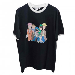 BLUE T SHIRT WITH FANTASY CHARACTERS