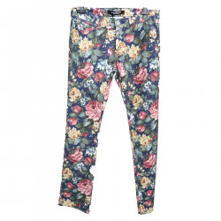 BLUE TROUSERS WITH FLOWER FANTASY