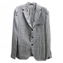 GRAY AND BLUE STRIPED JACKET