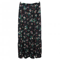 BLACK TROUSERS WITH FLOWER FANTASY
