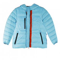 BLUE DOWN JACKET WITH PRINT