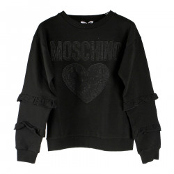 BLACK SWEATSHIRT WITH WRITTEN AND PRINT