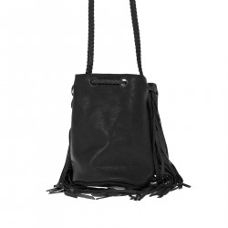 BLACK BUCKET BAG WITH FRINGES