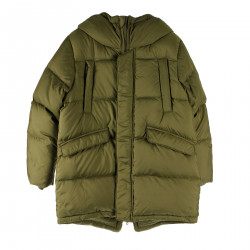 GREEN LEATHER DOWN JACKET WITH HOOD