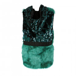 GREEN VEST IN FAUX FINISH WITH SEQUINS