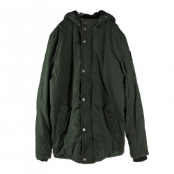 LONG GREEN DOWN JACKET WITH HOOD