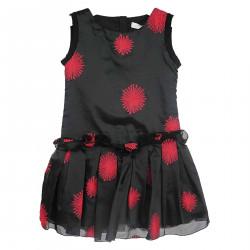 BLACK SLEEVELESS DRESS WITH RED FLOWERS