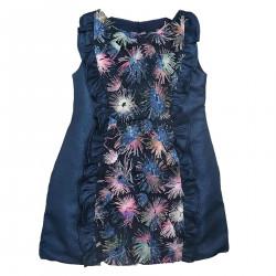 BLUE SLEEVELESS DRESS WITH FLOWER APPLICATION
